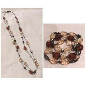 Double hung necklace & matching bracelet set